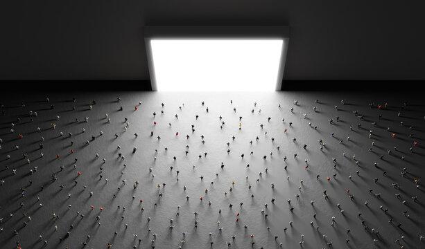 People watch big white screen, display.