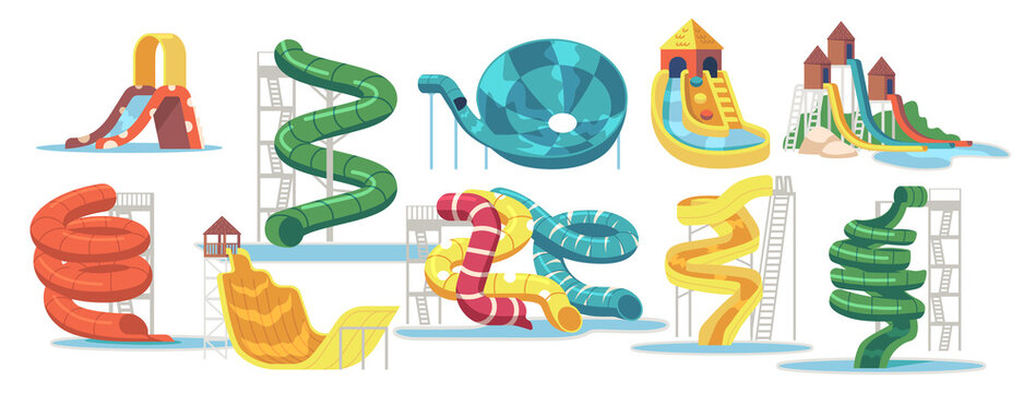 Set of Water Slides, Waterpark Aquapark and Swimming Pool Equipment, Items for Amusement Park, Recreation Fun Elements