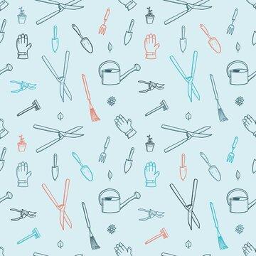 Gardening tools doodle vector