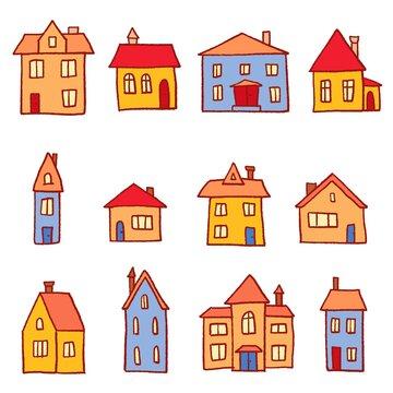 Vector cartoon style town homes