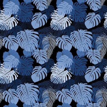Monstera leaves vector pattern