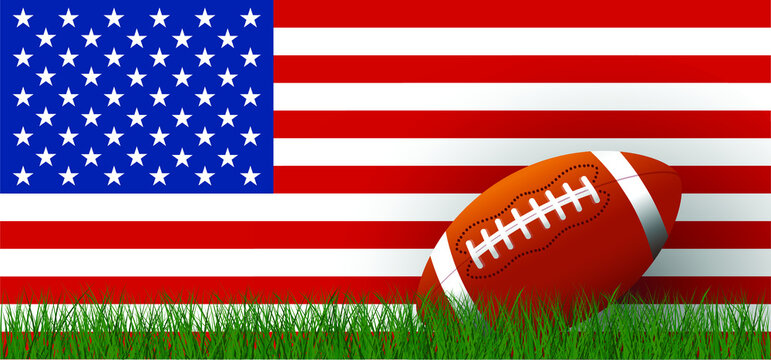 American football on green grass field. Sport team game cup. Rugby ball day. Funny super bowl weekend party. USA flag, sport finale, school games or on street. Vector template background rankings sign