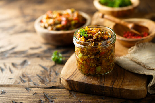 Homemade roasted vegetables appetizer with fresh parsley
