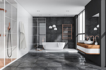 Grey bathroom with tiled floor and walls