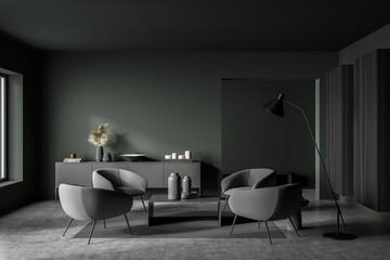 Obraz Dark green and grey seating area in modern living room - fototapety do salonu