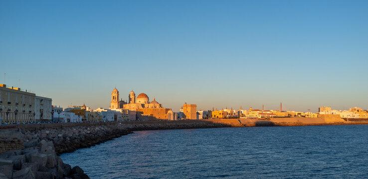 Sunset views of the city of Cadiz, Spain