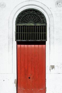 Red old wooden door