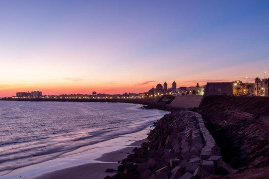 Sunset views of the city of Cadiz