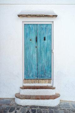 Turquoise old wooden door
