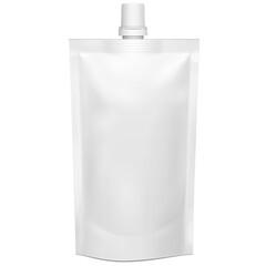 Obraz Mockup White Blank Doy Pack, Doypack Foil Food Or Drink Bag Packaging With Corner Spout Lid. Illustration Isolated On White Background. Mock Up Template. - fototapety do salonu