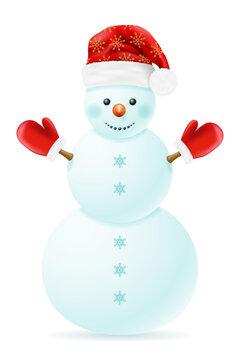 christmas snowman made of big snowballs with headdress vector illustration