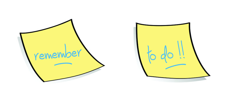 Postit paper. Note, memo paper with push button icon. Cartoon, comic drawing logo. Reminder sticker pinned linear sign. Attached, attach document or file. Vectorremember or to do list concept banner.