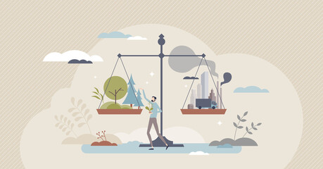 Obraz Net zero emissions and carbon dioxide CO2 neutral balance tiny person concept. Strategy to maintain atmosphere neutrality as future nature goal vector illustration. Scales with environment and city. - fototapety do salonu