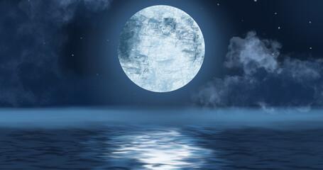 Moon above water at night image