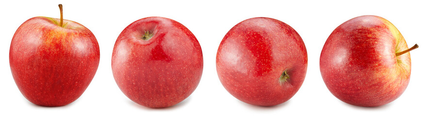 Red apple collection isolated on the white background. Apple half. Fresh red apple set isolated on...