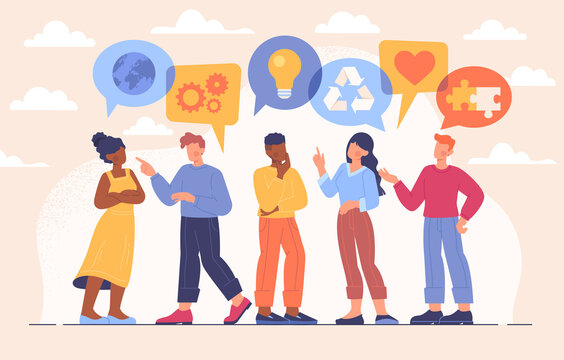 Public communication concept. Men and women discuss various business issues. Teamwork, partnership and relationships between employees. Cartoon flat vector illustration isolated on pink background