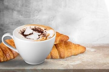 Obraz Fresh delicious breakfast with Coffee, crispy croissants on desk - fototapety do salonu