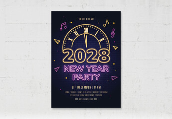 Obraz Nye New Years Eve Party Flyer Poster with Neon Style Countdown Clock - fototapety do salonu
