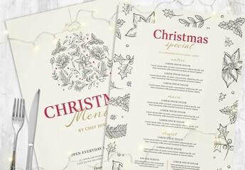 Obraz Christmas Menu Layouts with Festive Illustrations - fototapety do salonu