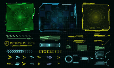 Obraz Futuristic HUD-style frame for GUI, UI, UX and web design. Callouts, arrows, labels, information panels of the call window,  frame screen. Loading bar. Green, Blue, Yellow Callouts titles. Vector - fototapety do salonu