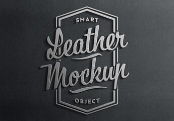 Obraz Leather Logo 3D Style with Shadow Mockup - fototapety do salonu