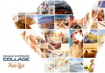 Obraz Photo Collage Double Exposure Effect Mockup - fototapety do salonu