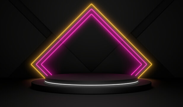 Sci Fi Pedestal, Cylinder Podium, Place For Product. Colored Neon Glow. 3D Rendering Image.