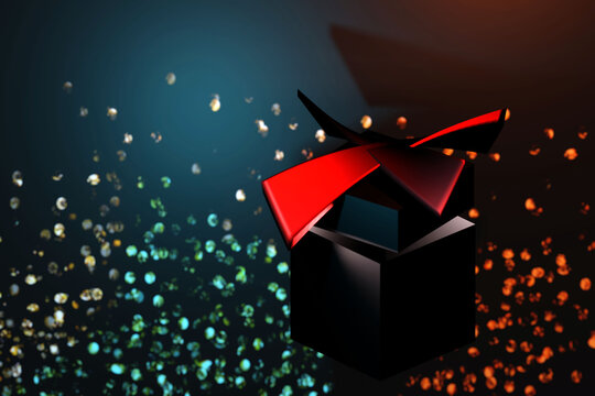 Festive Christmas gift box with red ribbon on a black background. 3D render illustration.
