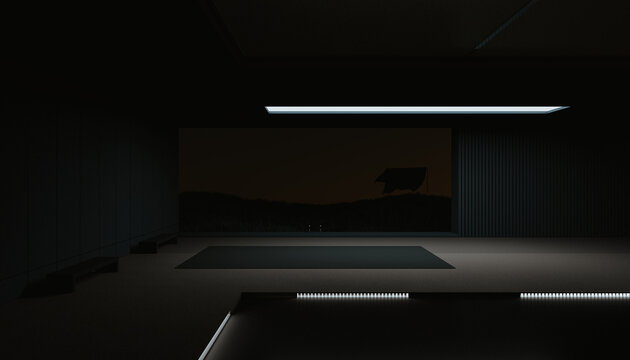Minimal architectural space at night
