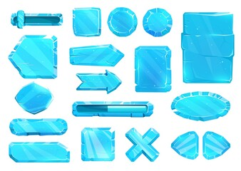 Obraz Ice crystal user panel interface, buttons, slider plates and arrow keys, vector game asset UI set. Blue ice UX and GUI buttons for game, cartoon menu with power volume level and menu navigation arrows - fototapety do salonu