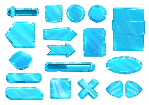 Ice crystal user panel interface, buttons, slider plates and arrow keys, vector game asset UI set. Blue ice UX and GUI buttons for game, cartoon menu with power volume level and menu navigation arrows