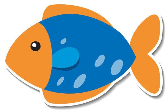 Cute flat fish cartoon sticker