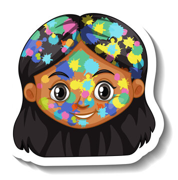 Happy girl face with colour on his face sticker on white background