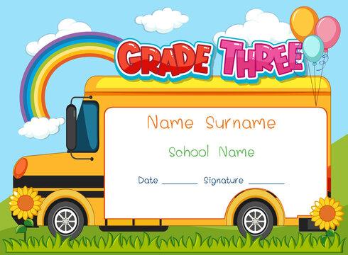 Grade three diploma or certificate template