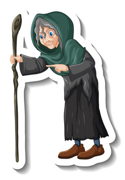 Old witch holding staff cartoon character sticker