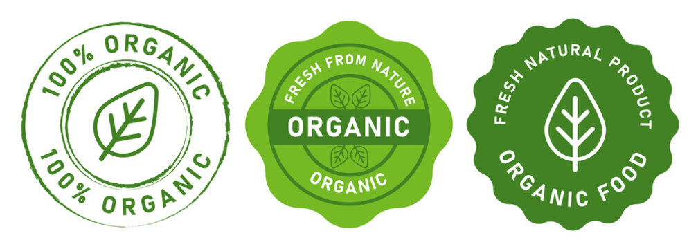 organic food stamp label design 100 percent organic natural in green color seal tag sticker design graphic isolated