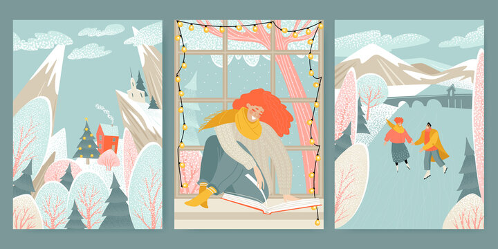 Hello winter. Set of cute illustrations with winter landscape, couple ice skating and girl reading a book.