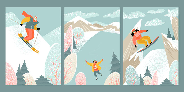 Illustrations of winter activities with characters skiing, skating and snowboarding against the backdrop of a mountain landscape.