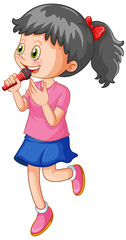 A cute girl singing with microphone