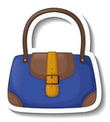 A sticker template with a women handbag isolated
