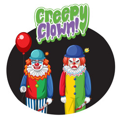 Creepy Clown badge with two creepy clowns