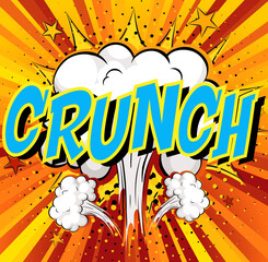 Word Crunch on comic cloud explosion background
