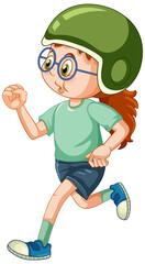 A girl wears helmet and running