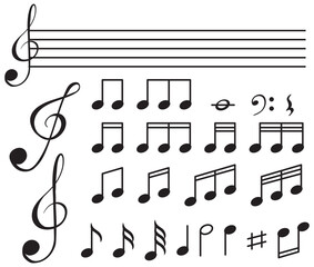 Musical symbols with lines on white background