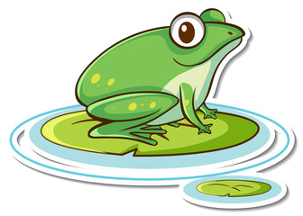 Sticker design with cute green frog isolated