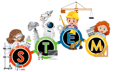 STEM education logo with children cartoon character