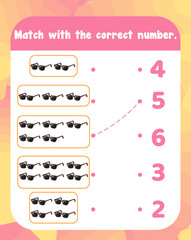 Count and match numbers math worksheet template