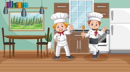 Kitchen scene with two chefs cartoon character