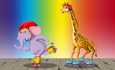 Giraffe and elephant playing roller skate on rainbow gradient background