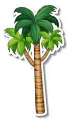 Palm tree sticker on white background